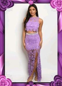 Lavender Lace Top&Skirt Set